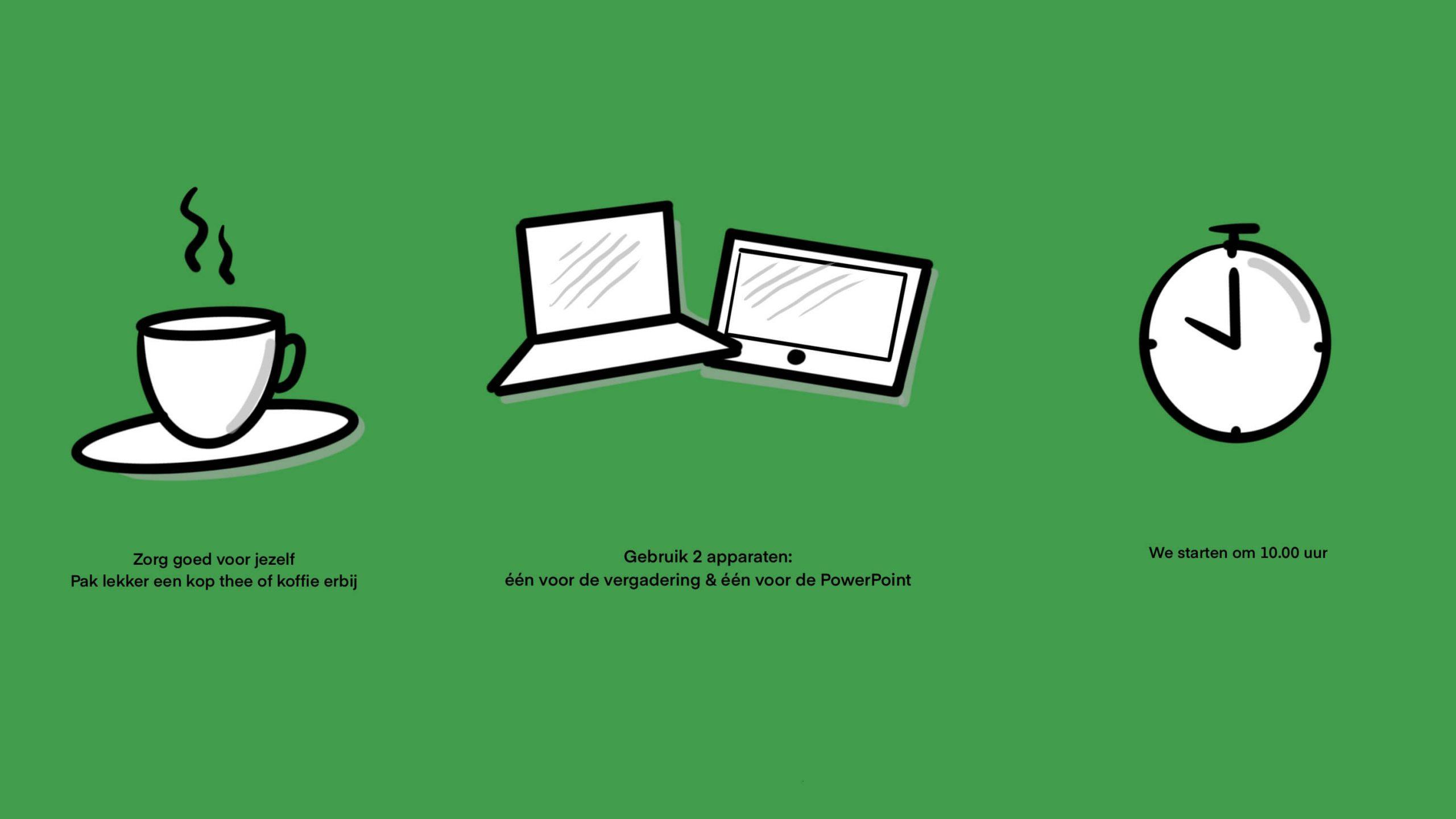 Powerpoint slide - voorbeeld uitleg regels online meeting